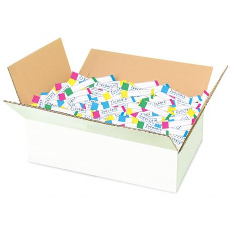 White sugar stick packets